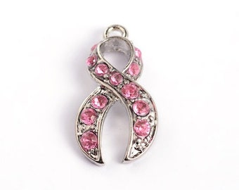 25 Pink Breast Cancer Awareness Rhinestone Ribbon Charms