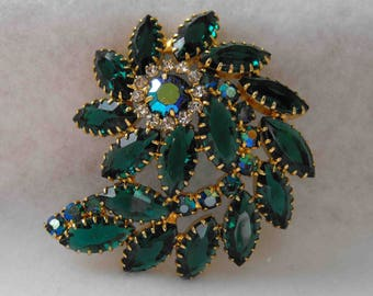 Vintage Brooch, DeLizza and Elster, Juliana, Green Navettes, AB Chatons, ca 1960s NT-1150