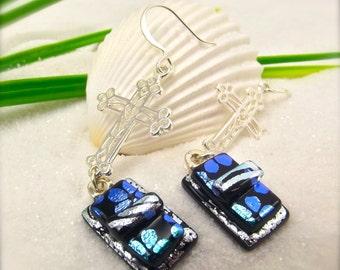 Silver earrings, Christian cross jewelry, Hana Sakura, Dichroic glass jewelry, fused dichroic, glass fusion, unique gifts, artisan earrings