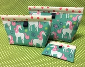 Unicorn Oilcloth Snappy Pouch - 5 Sizes