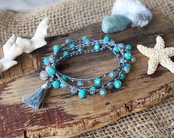 Wrap Bracelet, Tassel Bracelet, Beachy Bracelet, Summer Jewelry, Beachy Boho, Bohemian Jewelry, Stacking Bracelet, Turquoise Bracelet,