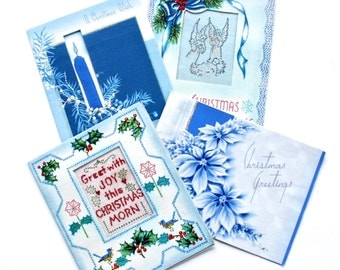Vintage Mid Century Unusual Blue Christmas Cards