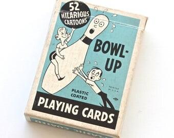 1950s Bowl Up Bowling Cartoon Playing Cards Set
