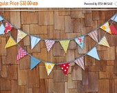 ENTIRE Store On SALE On SALE Carnival Theme Fabric Bunting in Boy or Girl Theme,12 Flags, Wedding Decor, Photo Prop, Party Decor, Pennant Fl
