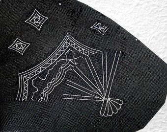 Japanese Stencil - Vintage Stencil - Kimono Stencil - Katagami Stencil - Fan Shape - Unique Shape