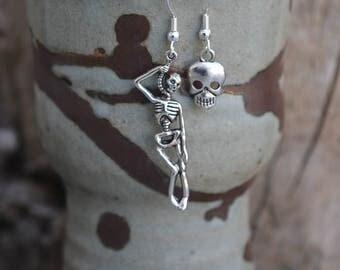 Human Skeleton Human Skull Voodoo Skeleton Bones Head Earrings Witch Pagan Wicca Dangle Metal Earrings