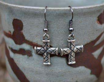 Cross Earrings Criss Cross Pattern Earrings Metal Cross Earrings Dangle Metal Earrings Drop Metal Earrings Fashion Jewelry Costume Jewelry