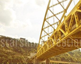 Pittsburgh Photography, Fort Pitt Bridge, Yellow Bridge, Altered Photography, 8x10, 5x7