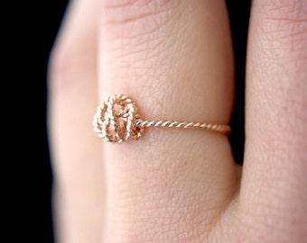 Rose Gold Twist Nest ring, 14k rose gold fill twist ring, rose gold ring, rose gold knot ring, birds nest ring, rose gold twist ring