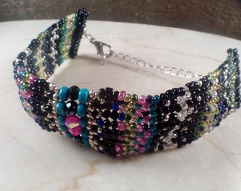 Beaded cuff bracelet herringbone seed beads bright multicolored turquoise and crystal