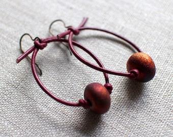 Raku and Leather Earrings, Niobium Hypoallergenic Ear Wires, Copper, Fuscia, Blue Tones, Light Weight Earrings, Artisan Earrings, Gift Box