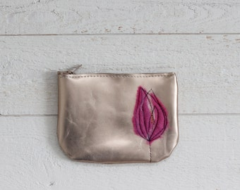 Leather Coin Purse - Copper &  Hot Pink