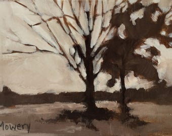 Small Silent Trees original acrylic 5x7 inches brown landscape painting of trees near a field Day 10 of 30 in 30 Days by Barb Mowery