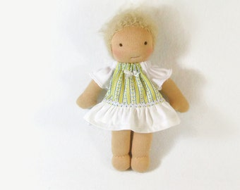 8 inch thin waldorf old fashioned yellow stripe dress with ruffles