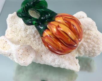 glass pumpkin pendant,  sculpted glass jewelry, lampwork pumpkin, Italian glass pumpkin, Italian glass pumpkin pendant, pumpkin necklace