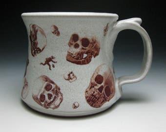 Mustache Mug- Skulls- Right Handed