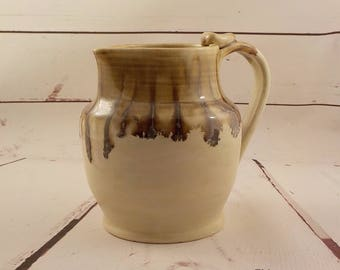 Ceramic Pitcher - Stoneware Pouring Jug - Sangria or Water Server - Table Vase - Off White, Jasper Brown - Ready to Ship - Gift Item  s522