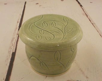 Handmade Butter Keeper - Stoneware French Style Butter Crock - Ceramic Butter Dish - Store and Serve - Ready to Ship - Celadon Green s526