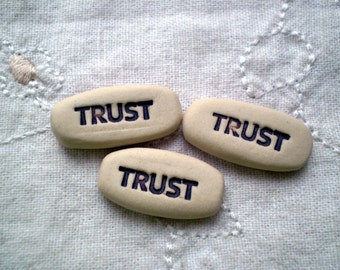 3 Trust Inspirational Word Charms, Mantra, Clay Word