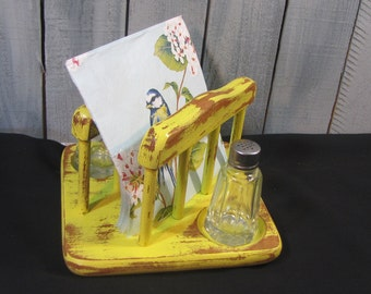 Yellow Napkin Holder Salt n Pepper Set  Distressed Shabby Chic Vintage Wood Spring