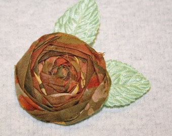 Autumn Colors Fabric Rosette Brooch with Leaves Shades of Burnt Sienna Batik Cotton