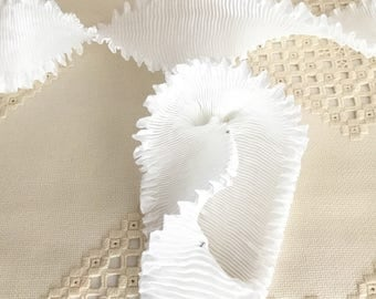 """Pleated Rayon Moire Ribbon Snow White Ribbon Work Ribbon Flowers Doll Costuming 1 meter 2"""" wide"""