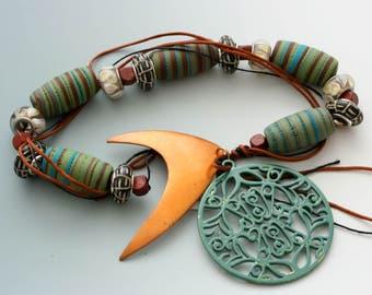 Artisan Art Beads. Handmade Bead Set of 5 with Vintage Pendants.