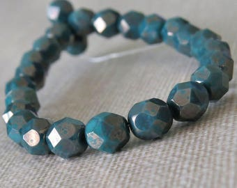 6mm Persian Turquoise Moondust Czech Glass Bead Faceted Round : 25 pc Czech Blue Green Teal 6mm Faceted Round