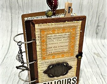 "MINI 3 1/2"" x 5 3/4""  3 ring Planner Organizer Junk Journal Smash Book Scrapbook Art Journal"