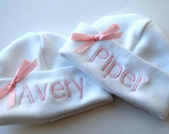 Monogrammed Personalized Micropreemie Hats for Twins NICU Mailed Priority