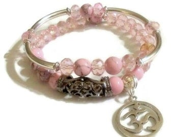 FREE GIFT with purchase  Pink Magnesite Pink Crystal Namaste Om Charm Bracelet set