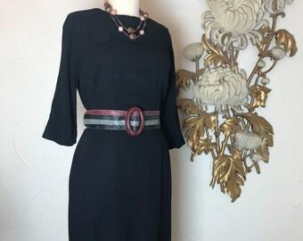 Fall sale 1950s dress classic dres black dress 50s dress size large vintage dress office dress Juliette originals