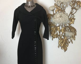 RESERVED 1950s dress wool dress mad men dress size medium wiggle dress little black dress hourglass dress
