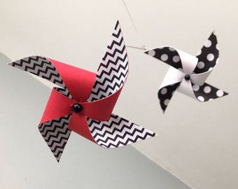 Red, Black and White Baby Crib Mobile / Wire Mobile / Modern Mobile / Baby Nursery Mobile / Pinwheel Mobile / Developmental Mobile : Bugaboo