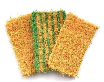 Dish Scrubby, Dish Scrubbies, Green and yellow Crochet Scrubbies, Pot Scrubber, Eco Friendly Kitchen Scrubby, Cleaning, Set  of 3
