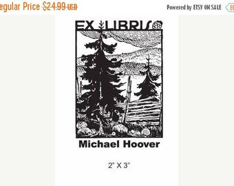 Gift for Grads 15% Off Outdoors Split Rail Fence in the Woods Personalized Ex Libris Rubber Stamp E13