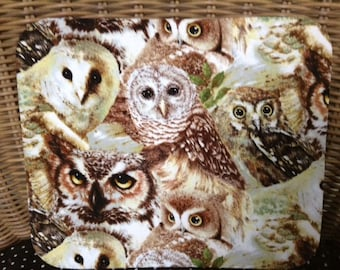 Fabric Computer Mousepad Made With Owls Fabric
