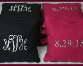 Monogrammed Cornhole Bags Hot Pink and Black Set of 8 Bags