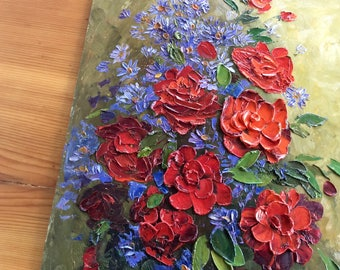 Vintage Flower Painting, Impasto Painting. Bright Red Roses, Purple. Original Oil Painting on Board.