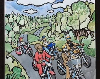 Women on Motorcycles original ink and watercolor painting