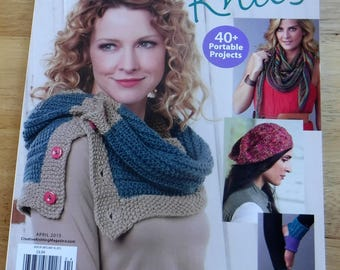 Knitting patterns, Creative Knitting April 2015 Knit spring pattern magazine women accessories, hats, cowls, shawls, knit patterns