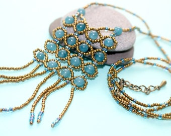 Blue Agate and Bronze Seed Bead Long Necklace