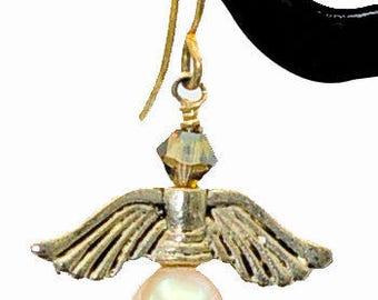 White fresh water pearl and Swarovski crystal angel earrings