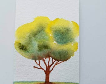 ACEO Pretty Watercolor Tree, Broken Branch, Tiny Tree Painting, Gift For Friend, Home Decor Gift,  Optional Mini Display Easel, Tree Lovers