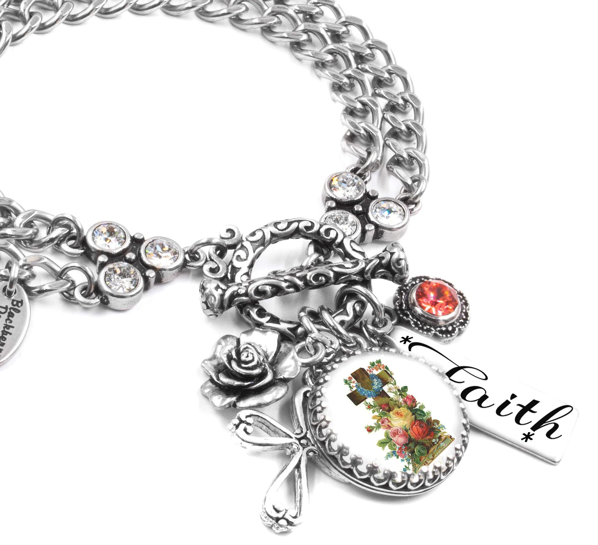 Christian Charm Bracelets: Cross Bracelet Christian Jewelry Faith Bracelet Religious