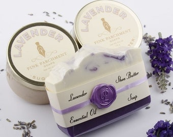 Lavender Gift Set  - Bath and Beauty Set -  Bath Gift Set - Soap, Sugar Scrub, Body Butter - Gift For Mom - Gift for Her - Gift For Coworker