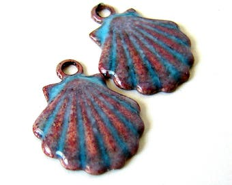 Blue Enamel Shell Brass Charms