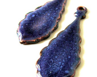 Purple Enameled Drop Charms