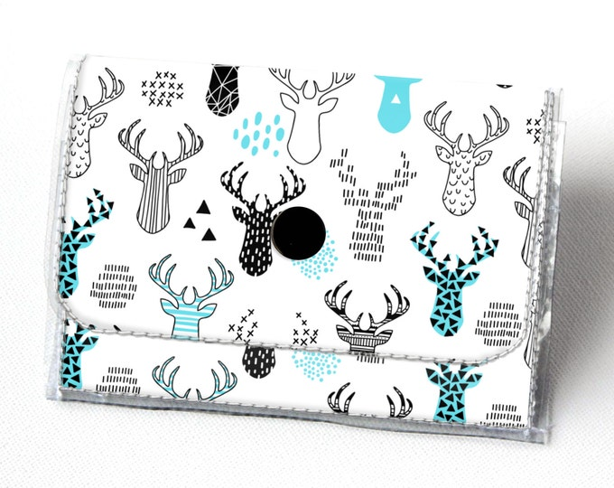 Vinyl Accordion Wallet - Deer / woodland, small wallet, snap, cute, card case, vinyl wallet, women's wallet, blue, animal, forest, geometric