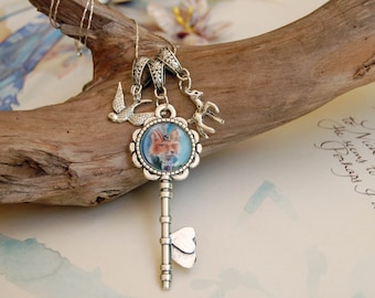 Mrs. Fox Charm Necklace Key Charm Fox Art Victorian Gothic Necklace Key Necklace